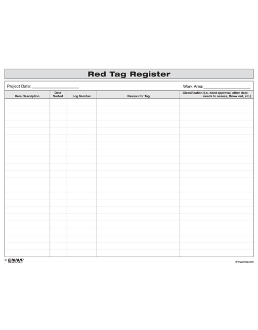 5S Red Tag Register - 5S Office Red Tag Register