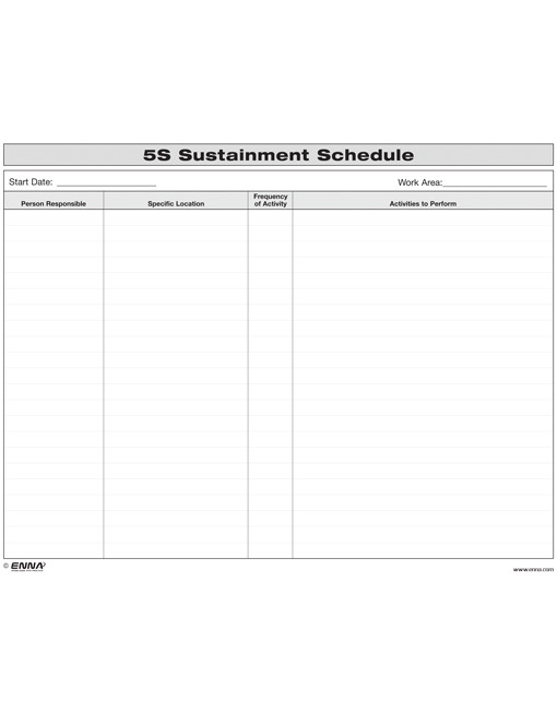 5S Office Sustainment Schedule