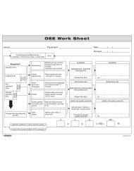OEE Worksheet - Overall Equipment Effectiveness