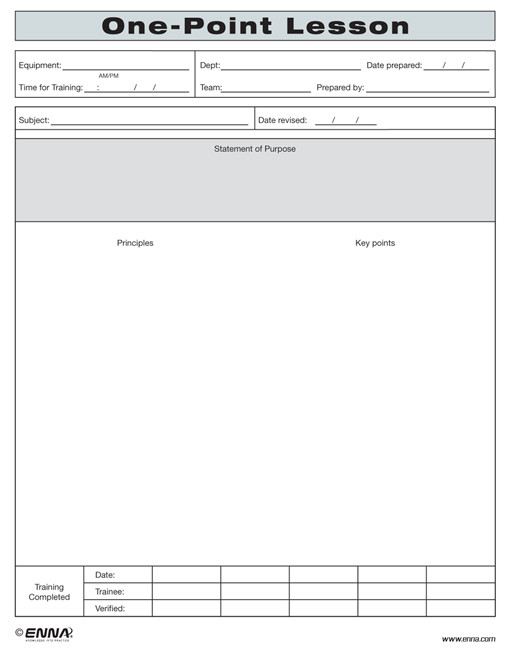 One point lesson form for Six point lesson plan template