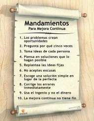 Mandamientos Para Mejora Continua - Spanish Lean Poster