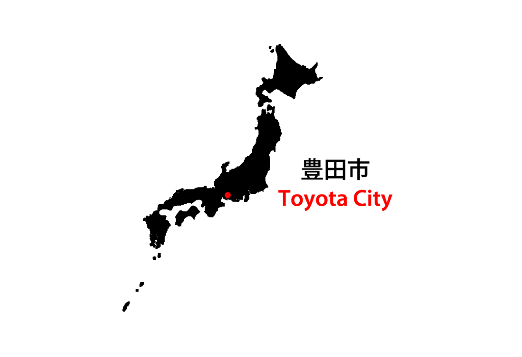 Toyota City on a Map of Japan